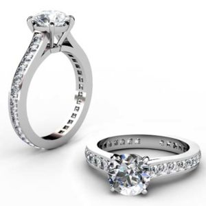 Round Brilliant Cut Diamond Engagement Ring with an Almost Eternity Channel Set Band 1 2