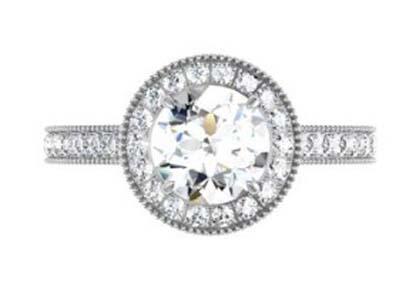 Round Brilliant Cut Diamond Milgrain Beaded Engagement Ring 2 2