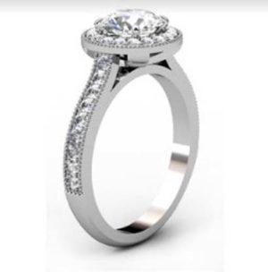 Round Brilliant Cut Diamond Milgrain Beaded Engagement Ring 4 2