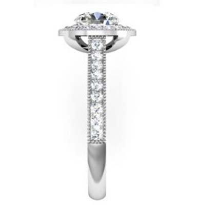 Round Brilliant Cut Diamond Milgrain Beaded Engagement Ring 5 2