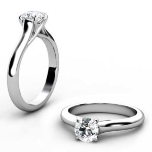 Round Brilliant Cut Diamond Solitaire Engagement Ring with Crossed Prongs 1 2