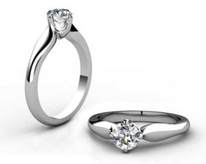 Round Brilliant Cut Diamond Solitaire Engagement Ring with Serpentine Band 1 3