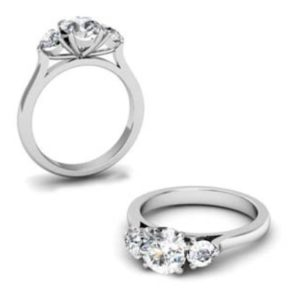 Round Brilliant Cut Diamond Three Stone Engagement Ring 1 7 2