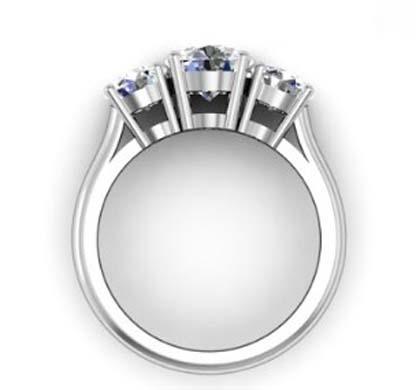 Round Brilliant Cut Diamond Three Stone Engagement Ring 3 1 2