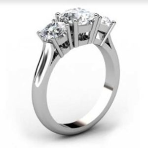 Round Brilliant Cut Diamond Three Stone Engagement Ring 4 1 2