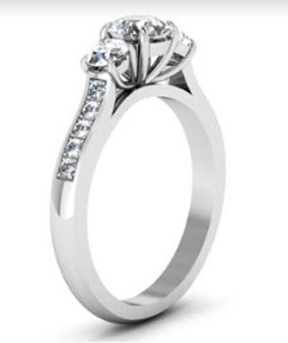 Round Brilliant Cut Diamond Three Stone Engagement Ring 4 4 2