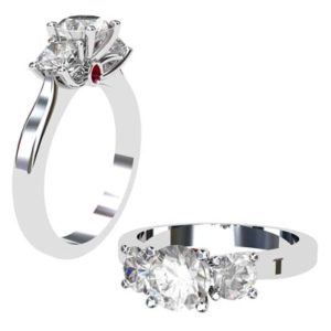 Round Brilliant Cut Diamond Three Stone Engagement Ring with Inset Ruby 1 2