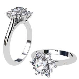 Round Brilliant Cut Snowflake Halo Diamond Ring 1 2