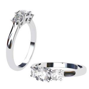 Round Brilliant Cut Three Stone Engagement Ring 1 2