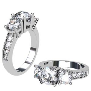 Round Brilliant Cut Three Stone Engagement Ring with Wide Band 1 1