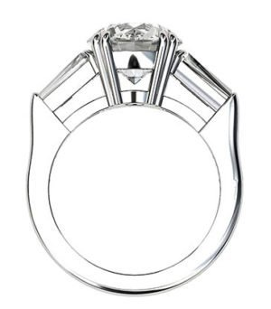 Round Brilliant Cut and Baguette Diamond Ring 3 2