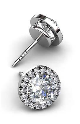 Round Cut Down Set Diamond Halo Earrings 2 2