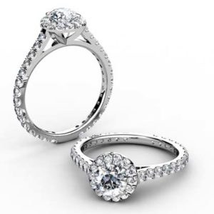 Round Diamond Halo Engagement Ring with Almost Eternity Band 1 2