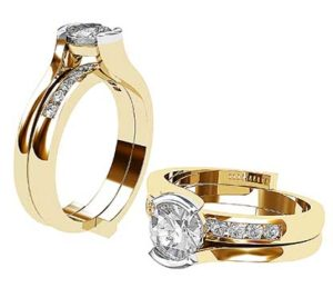 Round Diamond Sleeve Ring with Channel Set Wedding Ring 1 2