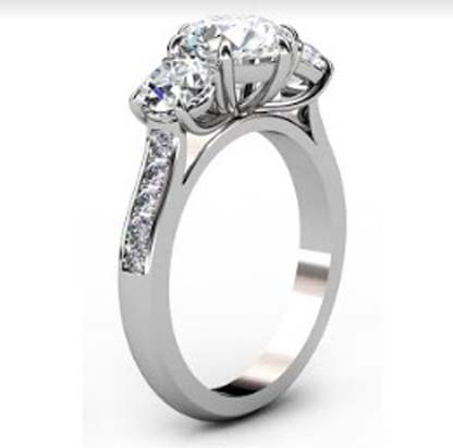 Round Diamond Three Stone Engagement Ring with Channel Set Diamond Band 4 2