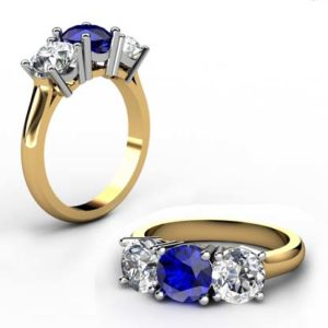 Round Sapphire Three Stone Yellow Gold Engagement Ring 1 2