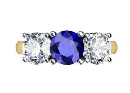 Round Sapphire Three Stone Yellow Gold Engagement Ring 2 2