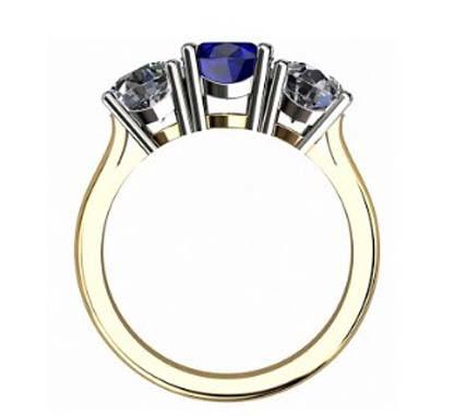Round Sapphire Three Stone Yellow Gold Engagement Ring 3 2