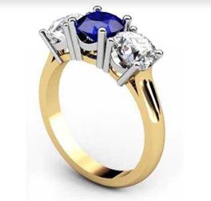 Round Sapphire Three Stone Yellow Gold Engagement Ring 4 2