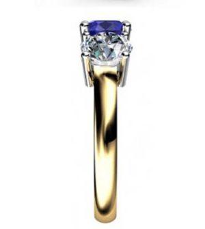 Round Sapphire Three Stone Yellow Gold Engagement Ring 5 2