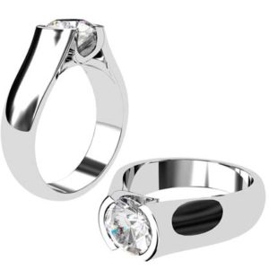 Round Semi Bezel Set Diamond Solitaire Ring with Wide Band 1 2