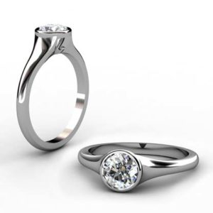 Round Solitaire Bezel Set Diamond Ring with Tapered Band 1 2