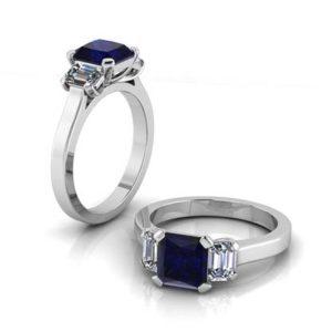 Sapphire Three Stone Engagement Ring 1 2