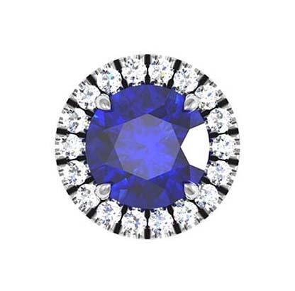 Sapphire and Diamond Halo Stud Earrings 3 2