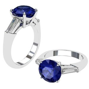 Sapphire and Diamond Ring With Tapered Baguettes 1 2
