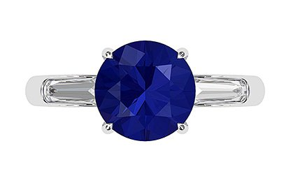 Sapphire and Diamond Ring With Tapered Baguettes 2 2
