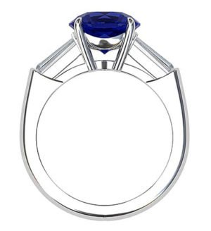 Sapphire and Diamond Ring With Tapered Baguettes 3 2