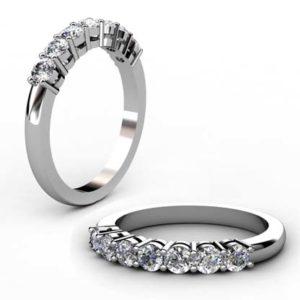 Seven Claw Set Diamond Wedding Band 1