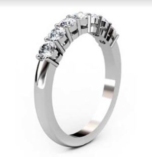 Seven Claw Set Diamond Wedding Band 2