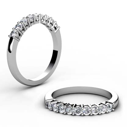 Shared Claw Double Gallery Round Brilliant Cut Diamond Wedding Ring 1