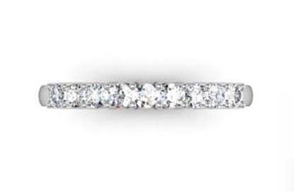 Shared Claw Double Gallery Round Brilliant Cut Diamond Wedding Ring 2