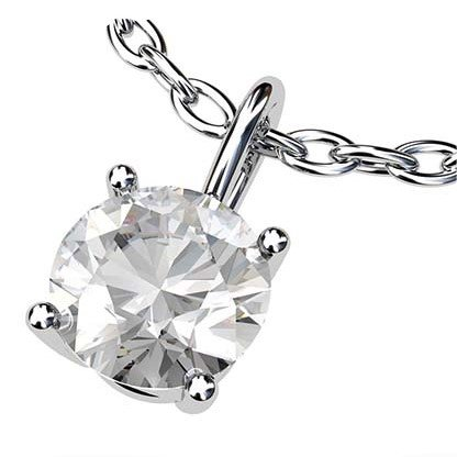 Simple Single Stone Diamond Pendant 2 1