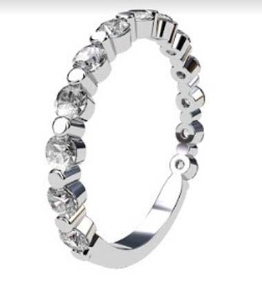 Single Claw Round Brilliant Cut Diamond Wedding Ring 2