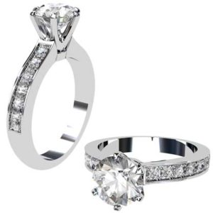 Six Prong Brilliant Cut Diamond Engagement Ring 1 2