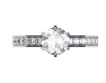 Six Prong Brilliant Cut Diamond Engagement Ring 2 2