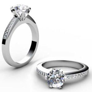 Six Prong Round Brilliant Cut Diamond Engagement Ring 1 1 2