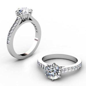 Six Prong Round Brilliant Cut Diamond Engagement Ring 1 2 2