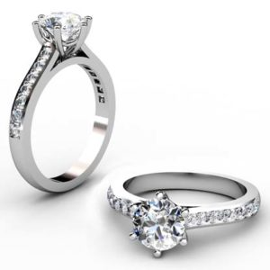 Six Prong Round Brilliant Cut Diamond Engagement Ring 1 3 2