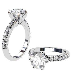 Six Prong Round Brilliant Cut Diamond Engagement Ring 1 5