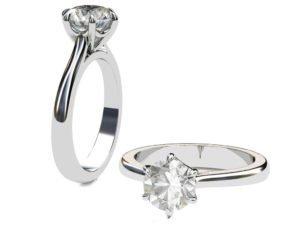 Six Prong Solitiare Diamond Engagement Ring 1 2