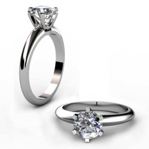 Six Prong Two Carat Round Brilliant Cut Diamond Solitaire Engagement Ring 1 2