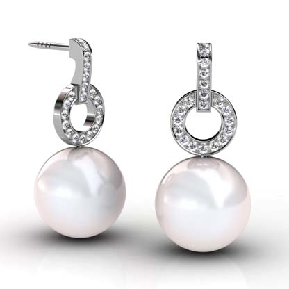South Sea Pearl Earrings with Diamond Circle 1 2