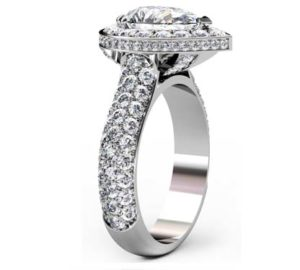 Sparkling Pear Shaped Diamond Halo Engagement Ring with Glamorous Details 4 2