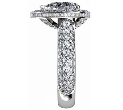 Sparkling Pear Shaped Diamond Halo Engagement Ring with Glamorous Details 5 2