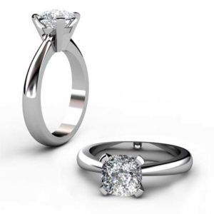 Square Cushion Cut Diamond Solitaire Engagement Ring 1 2