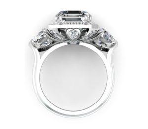 Three Carat Asscher Cut and Heart Shape Diamond Halo Engagement Ring 3 2